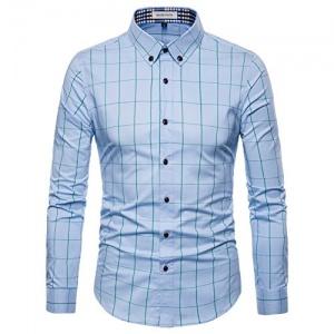 MUSE FATH Mens Long Sleeve Plaid Classic Shirt-Easycare Cotton Shirt