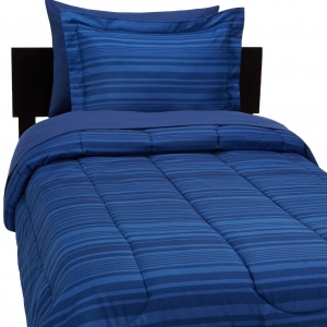 5-Piece Bed-In-A-Bag Comforter Bedding Set – Twin or Twin XL, Blue Calvin Stripe