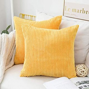 Top Finel Decorative Hand-Made Throw Pillow Covers 18 x 18 Inch Soft Particles Striped Velvet Solid Cushion Covers for Couch Bedroom Car 45 x 45 cm, Pack of 2, Lemon Yellow